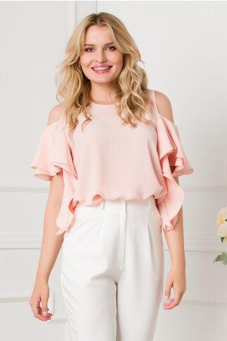 Bluza Gilda roz cu maneci scurte tip volanas