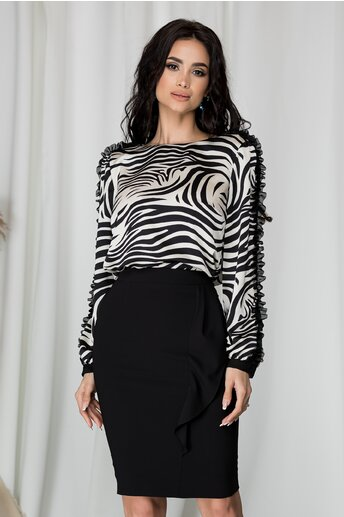 Bluza Gina cu imprimeu zebra alb-negru
