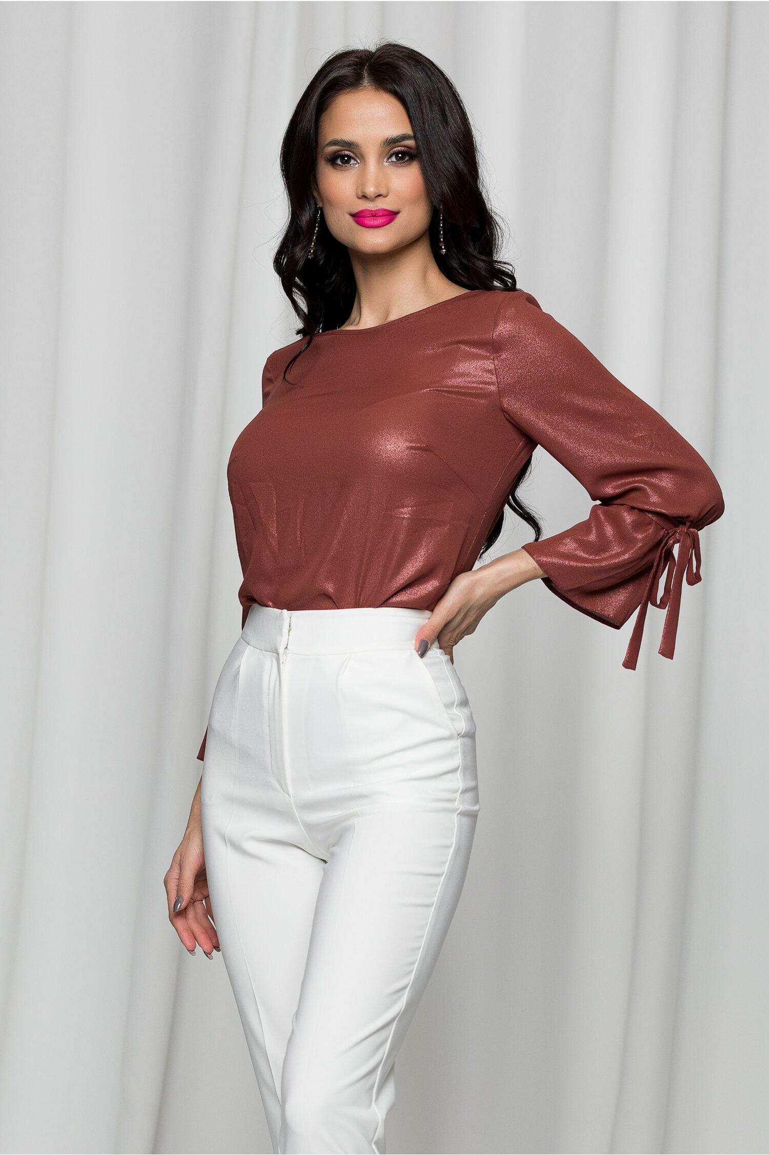 Bluza Ginette caramizie cu insertii stralucitoare
