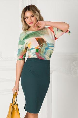 Bluza Ginette cu imprimeu multicolor