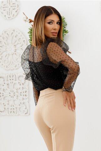 Bluza Ginette neagra din organza cu detalii sofisticate
