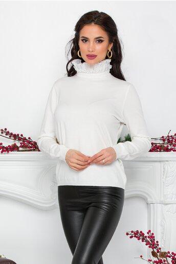 Bluza Gizela alba cu guler accesorizat cu perlute