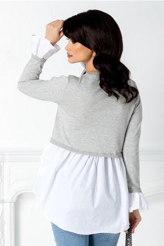 Bluza gri cu alb casual