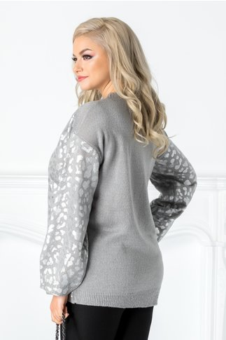 Bluza gri cu animal print argintiu