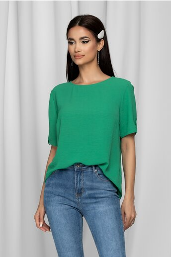 Bluza Hilary verde cu decolteu rotund si nasturi la maneci