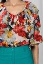 Bluza Hildegard ivory cu decolteu in v accesorizat cu volan si imprimeu floral