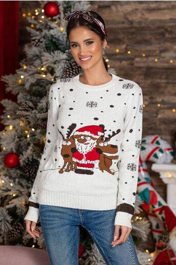 Bluza Holiday alba cu imprimeu de iarna