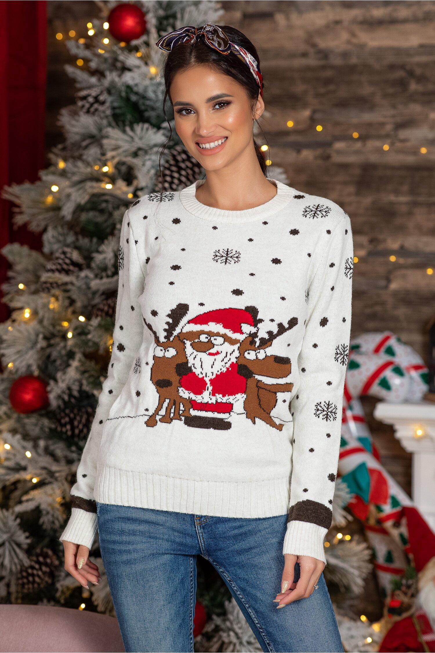 Bluza Holiday alba cu imprimeu de iarna Idei Cadouri de Craciun Online
