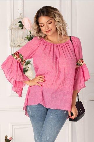 Bluza Holla roz cu broderie la maneci