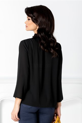 Bluza Horesa neagra cu volane la guler