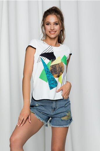 Bluza Iadira alba cu imprimeu geometric