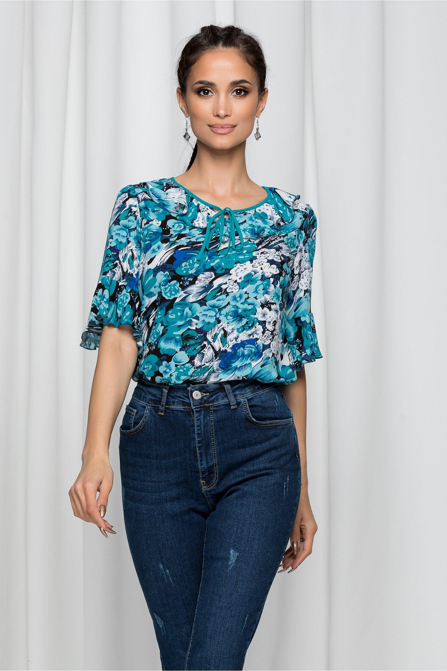 Bluza Ilana neagra cu imprimeu floral si maneci tip clopot