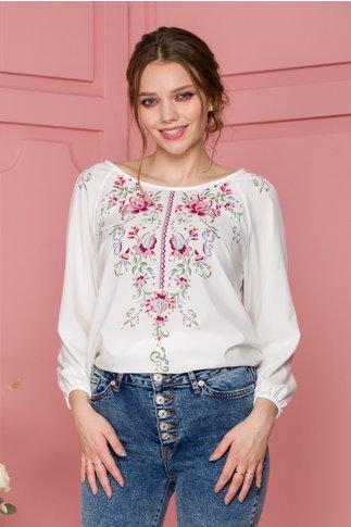Bluza Ilinca alba cu imprimeu floral pixelat in nuante de roz