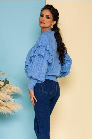 Bluza Inna bleu cu volanase si modele deosebite
