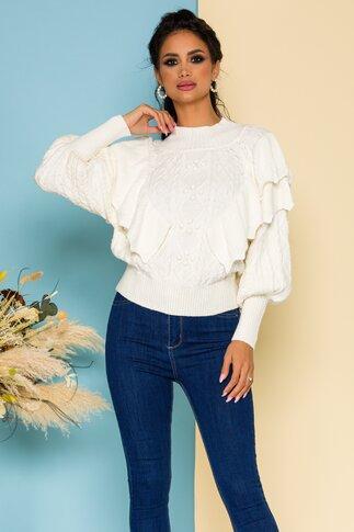 Bluza Inna ivoire cu volanase si modele deosebite