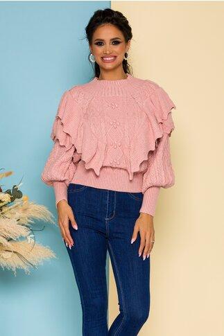 Bluza Inna roz pudrat cu volanase si modele deosebite