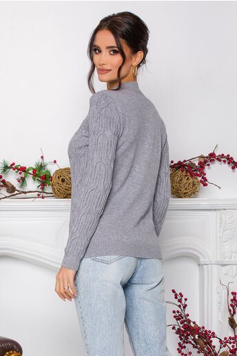 Bluza Irina gri din tricot cu model in relief