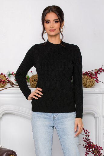 Bluza Irina neagra din tricot cu model in relief
