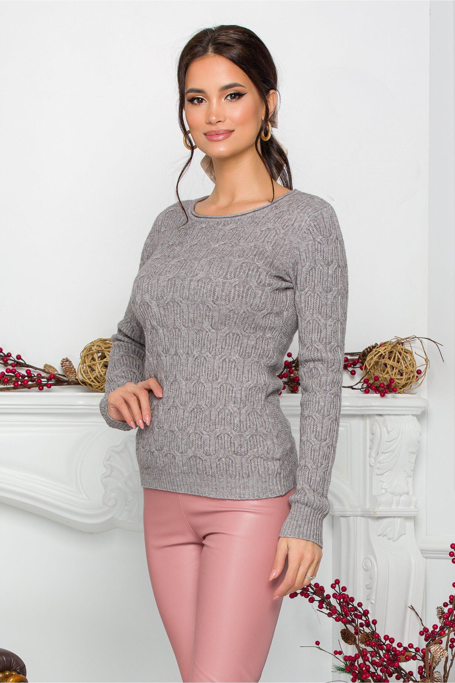 Bluza Jasmine gri din tricot cu impletituri decorative