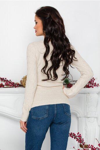 Bluza Jasmine ivoire din tricot cu impletituri decorative
