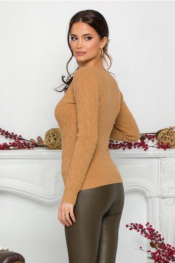 Bluza Jasmine maro din tricot cu impletituri decorative