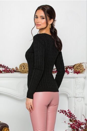 Bluza Jasmine neagra din tricot cu impletituri decorative