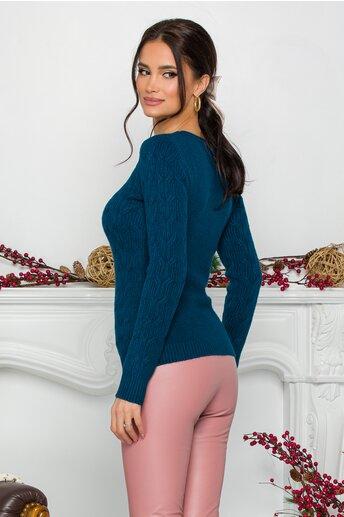 Bluza Jasmine turcoaz din tricot cu impletituri decorative