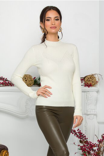 Bluza Jenifer ivory din tricot reiat