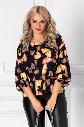 Bluza Jozo neagra cu imprimeu floral