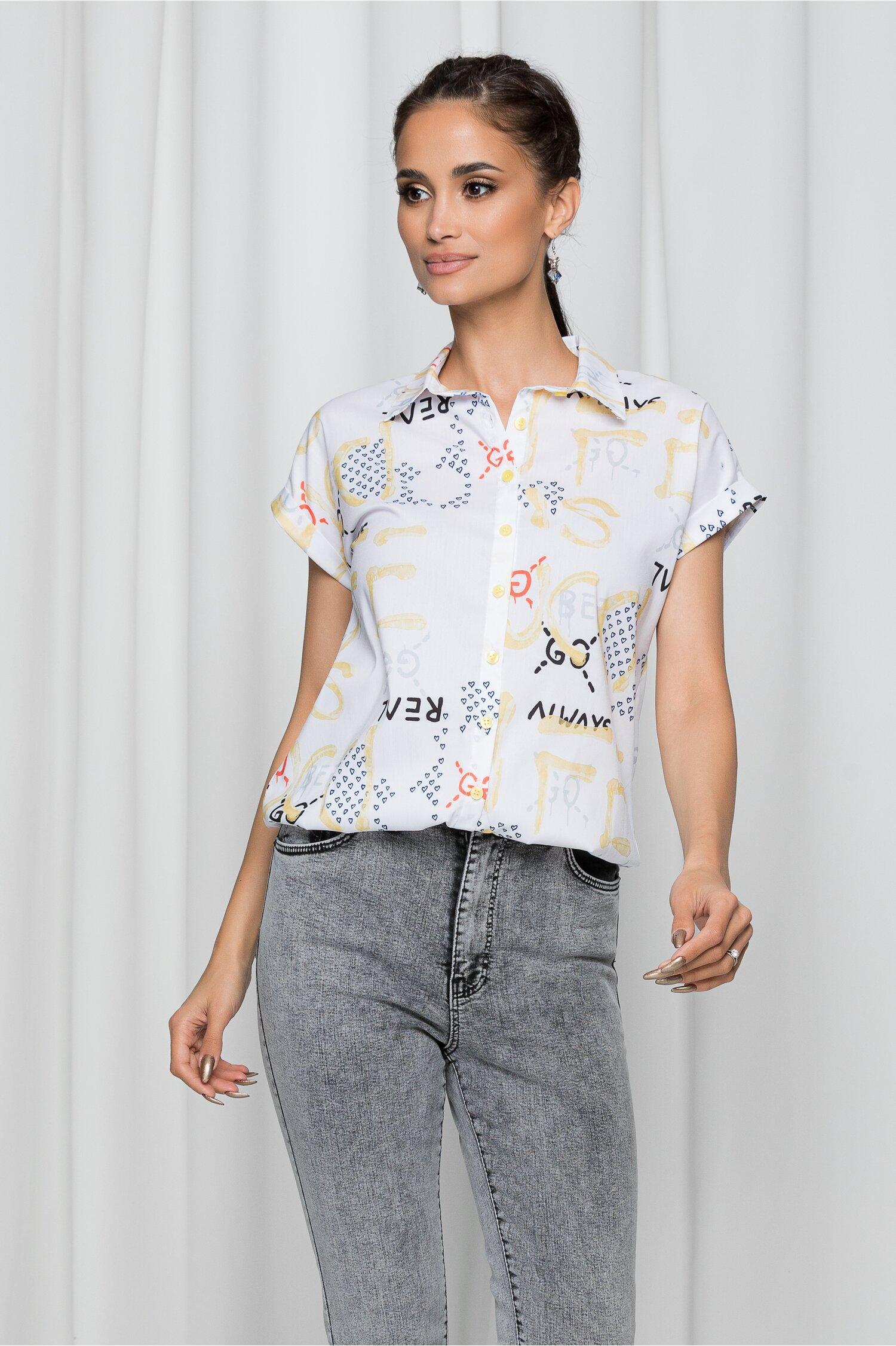 Bluza Julia alba cu imprimeu text multicolor