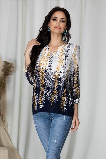 Bluza Kane alba cu imprimeu floral si baza bleumarin