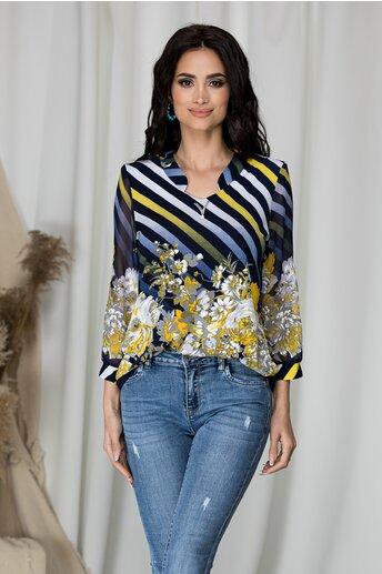 Bluza Kane bleumarin cu dungi si flori galbene la baza