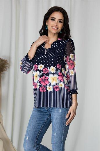 Bluza Kane bleumarin cu imprimeu floral si buline