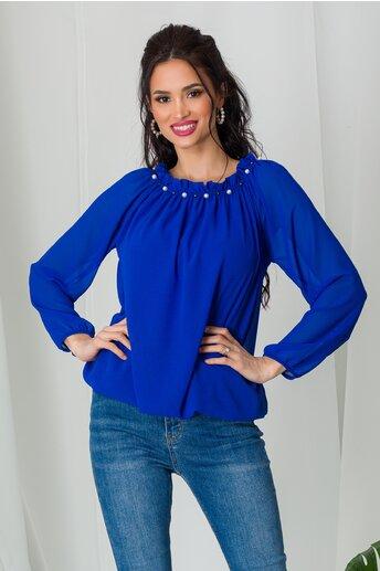 Bluza Kari albastra din voal cu perlute la decolteu