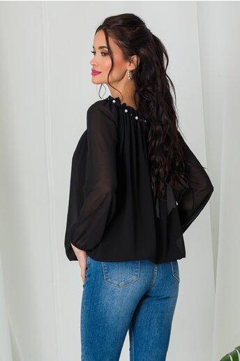 Bluza Kari neagra din voal cu perlute la decolteu