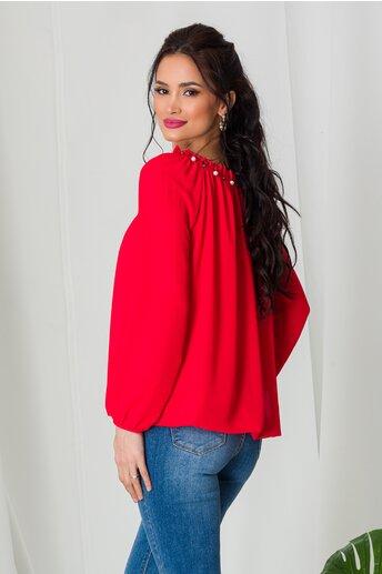 Bluza Kari rosie din voal cu perlute la decolteu
