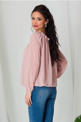 Bluza Kari roz pal din voal cu perlute la decolteu