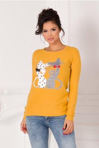 Bluza Kary galben mustar cu pisici si aplicatii din margele