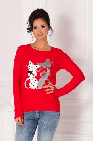 Bluza Kary rosie cu pisici si aplicatii din margele