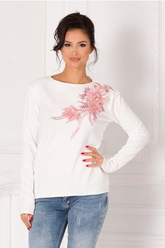 Bluza Katerina alba cu broderie si flori 3D roz