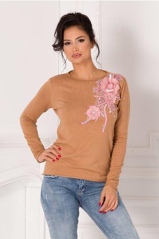 Bluza Katerina maro cu broderie si flori 3D roz
