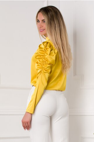 Bluza Kayle galben mustar cu fronseu la maneci