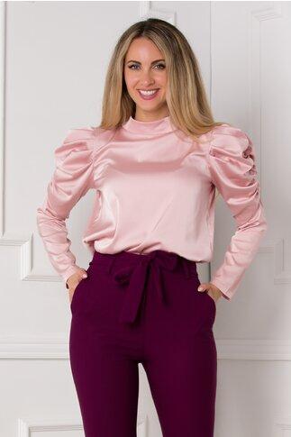 Bluza Kayle roz pudrat cu fronseu la maneci