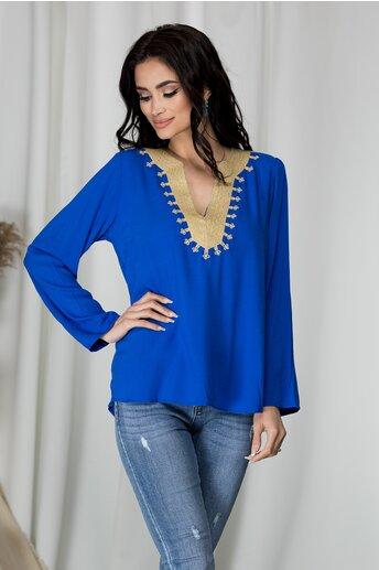 Bluza Kelly albastra cu broderie bej cu fir lurex