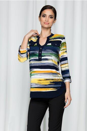 Bluza Keysha bleumarin cu imprimeu multicolor dungat si aplicatii tip buzunare