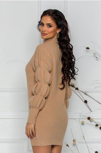 Bluza Kim bej din tricot cu design incretit la maneci