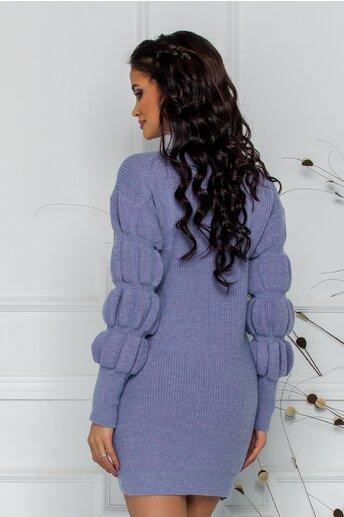 Bluza Kim lila din tricot cu design incretit la maneci