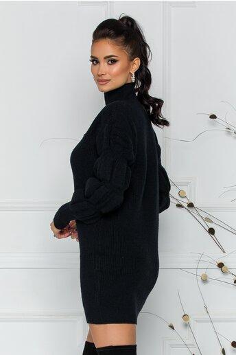 Bluza Kim neagra din tricot cu design incretit la maneci