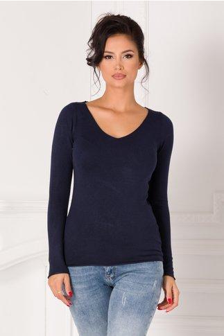 Bluza Kimmy bleumarin cu decolteu in V