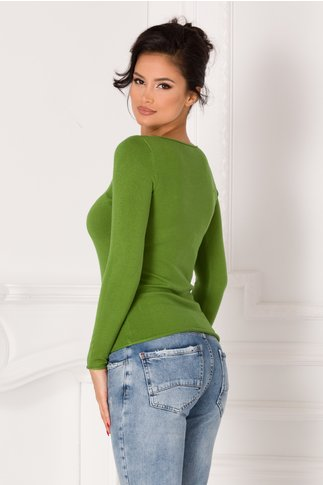 Bluza Kimmy verde cu decolteu in V